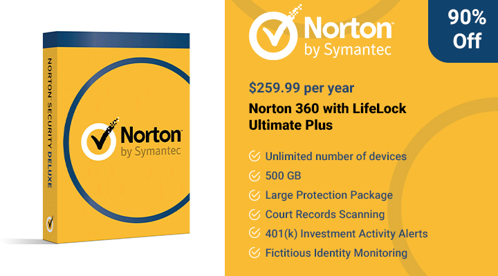 Norton 360 with LifeLock Ultimate Plus Offer.