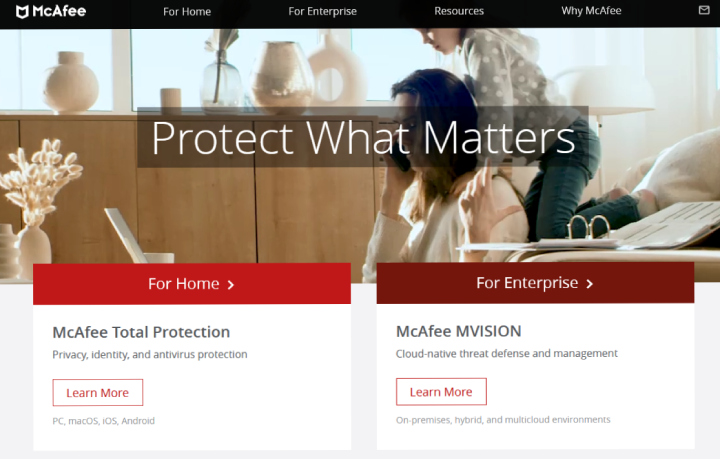 McAfee Main Website.