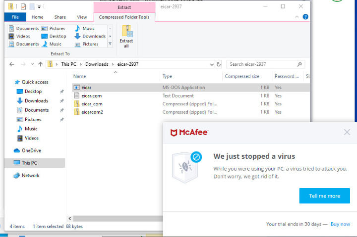McAfee Antivirus finds a threat.