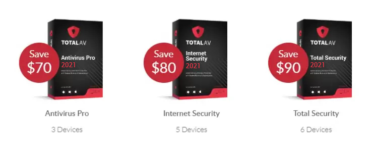 TotalAV packages and prices.