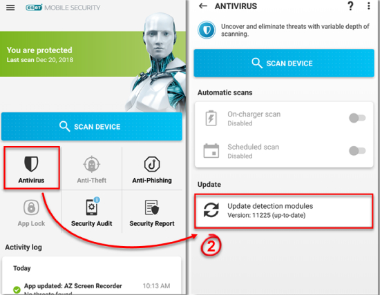ESET Mobile Security and Antivirus.
