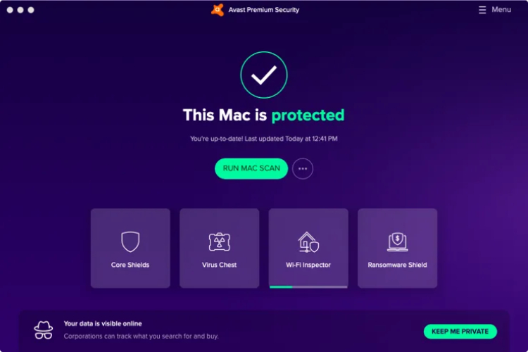 Avast for Mac, interface.