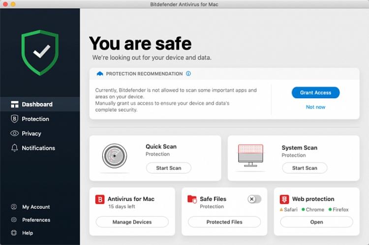 Bitdefender para Mac, interfaz.
