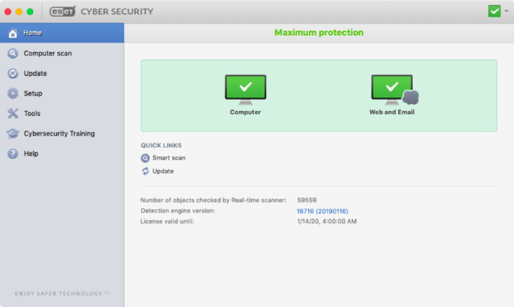ESET for Mac, interface.