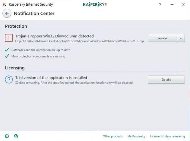 Centro de Notificación Kaspersky