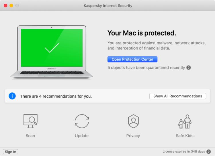 Kaspersky for Mac, interface.