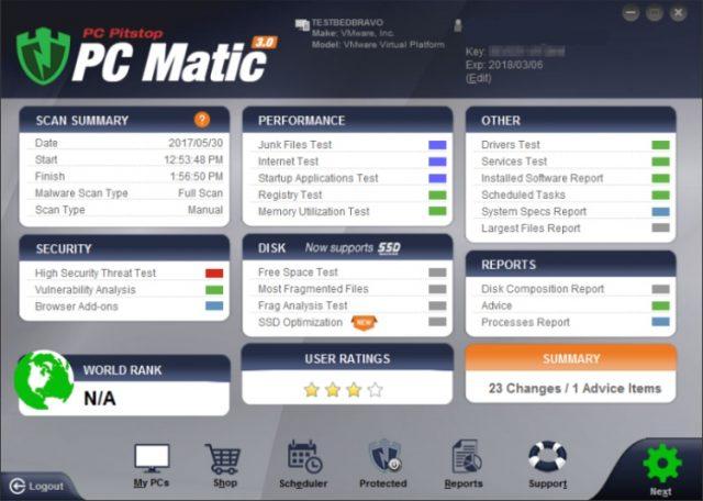Écran principal de PC Matic Home.
