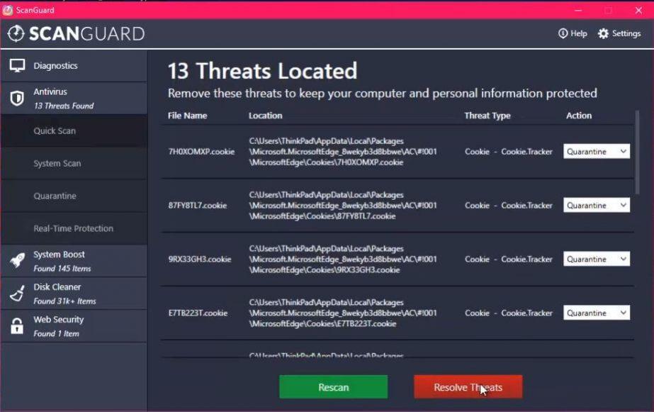 ScanGuard Threats Detected