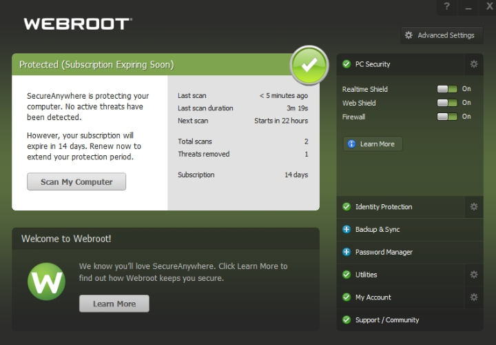 Webroot SecureAnyhere Protection.