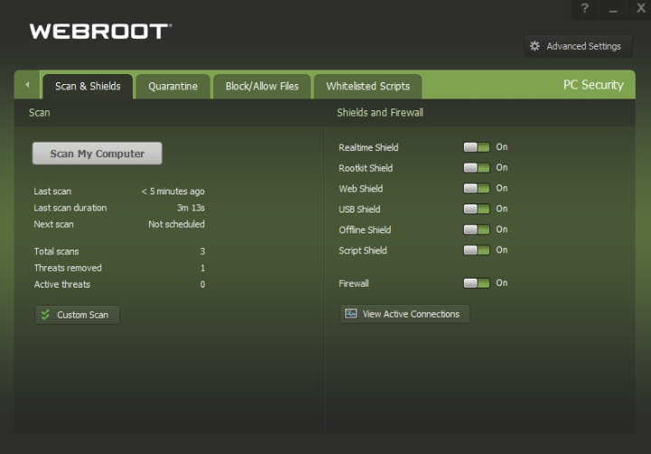 Webroot Review SecureAnywhere Interface.