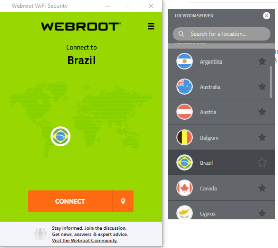 Seguridad WiFi de Webroot.