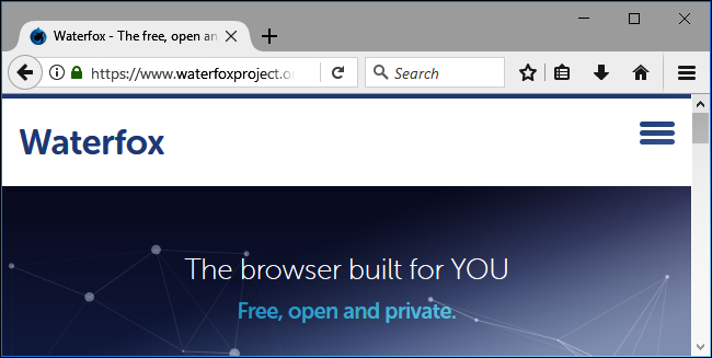 Waterfox browser.