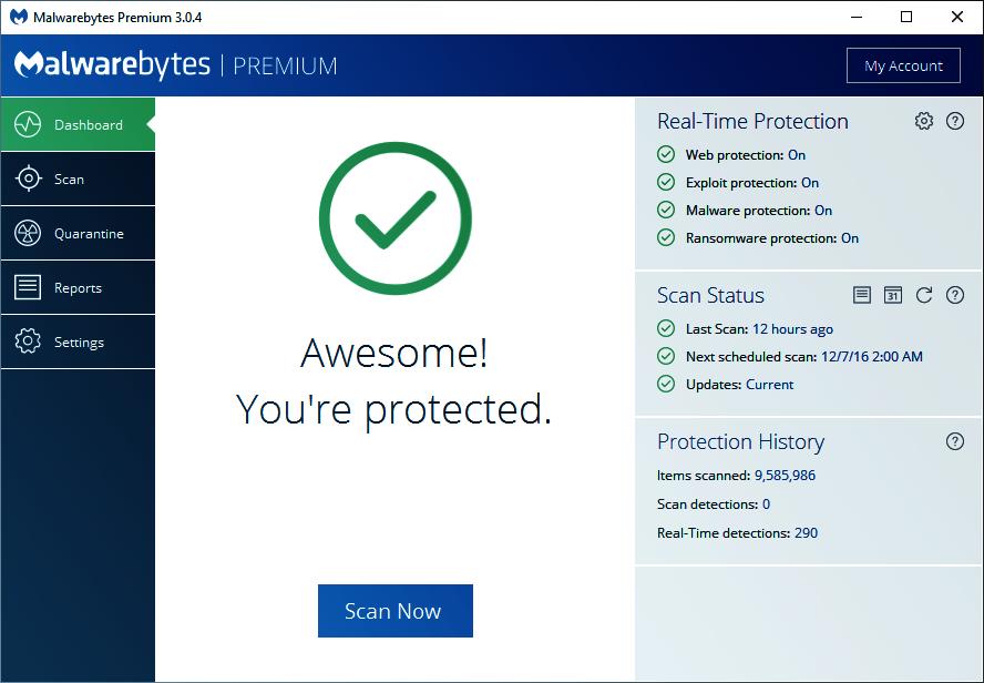 Malwarebytes Premium Übersicht.