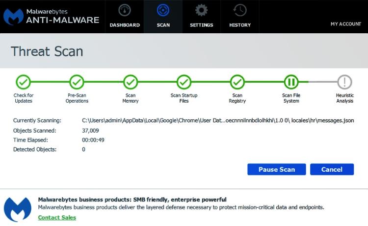 Malwarebytes Premium threat scans.