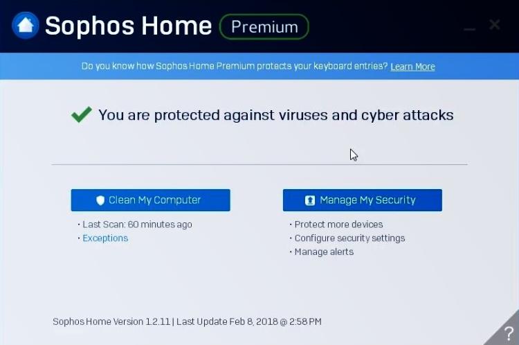 Sophos Premium Interface
