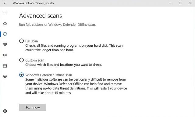 Microsoft Antivirus: Windows Defender Security Center