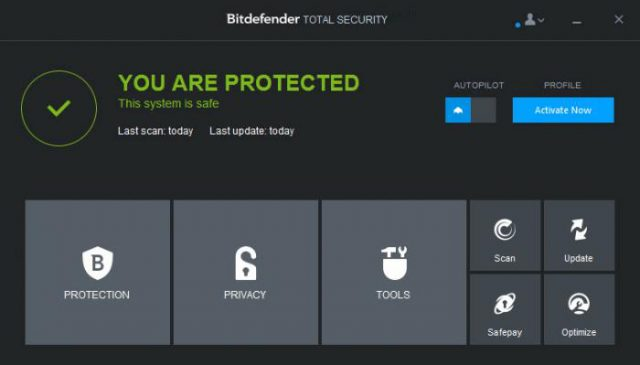 Bitdefender main screen