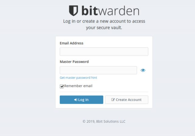 Bitwarden main screen