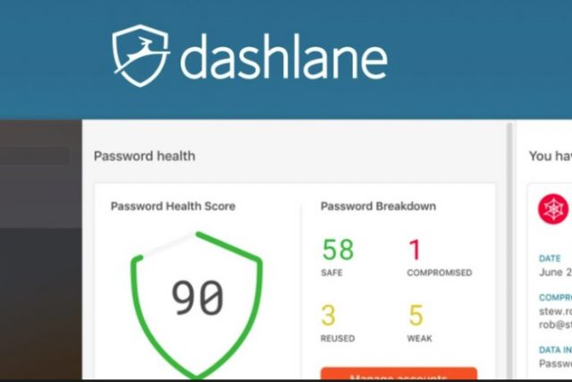 Dashlane main screen