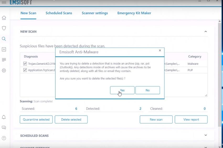 Benutzerfreundlichkeit von Emsisoft antivalware