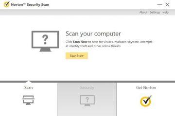 Norton Antivirus-Überprüfungs-Dashboard.