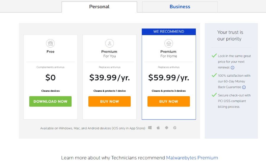 Malwarebytes Antivirus Pricing.