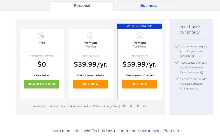 Preise für Malwarebytes-Virenschutz.