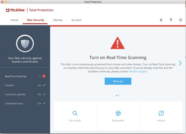 McAfee for Mac Real-Time Scanning.
