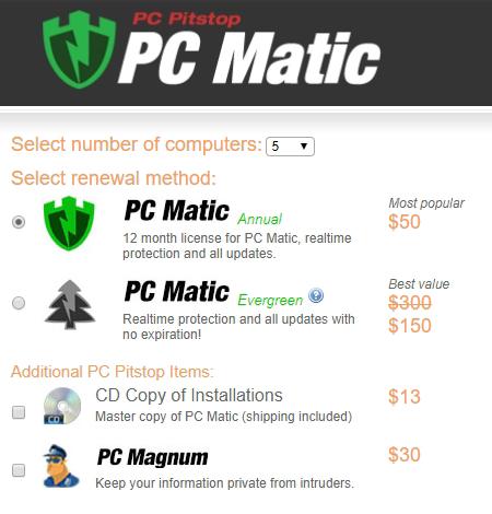 Precios del antivirus de PC Matic.