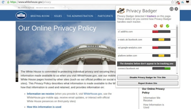 Privacy Badger Anti-Tracking Browser Extension.