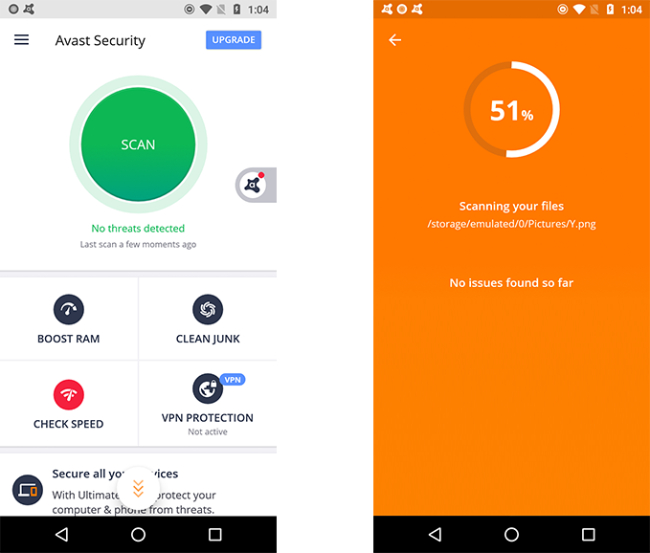 Avast Mobile Security Interface.