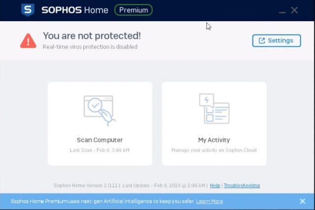 Interface de l'antivirus Sophos.