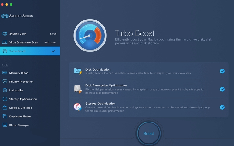 MacBooster Extra Features Turbo-Boost.