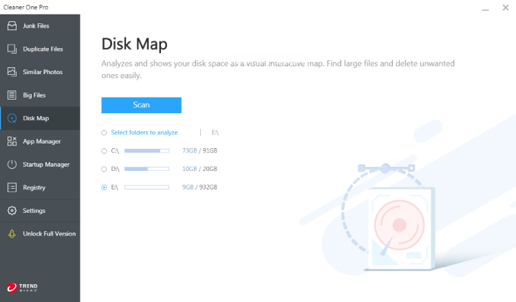 Cleaner One Pro Disk Map.