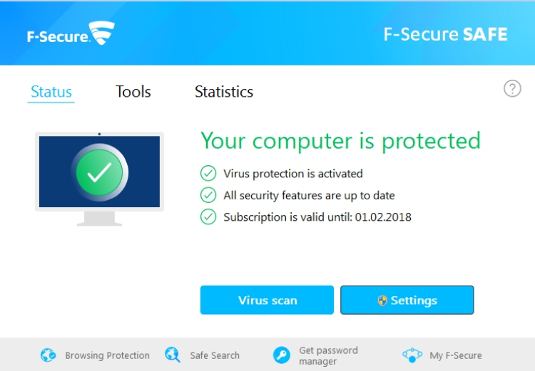 F-Secure Safe Antivirus.